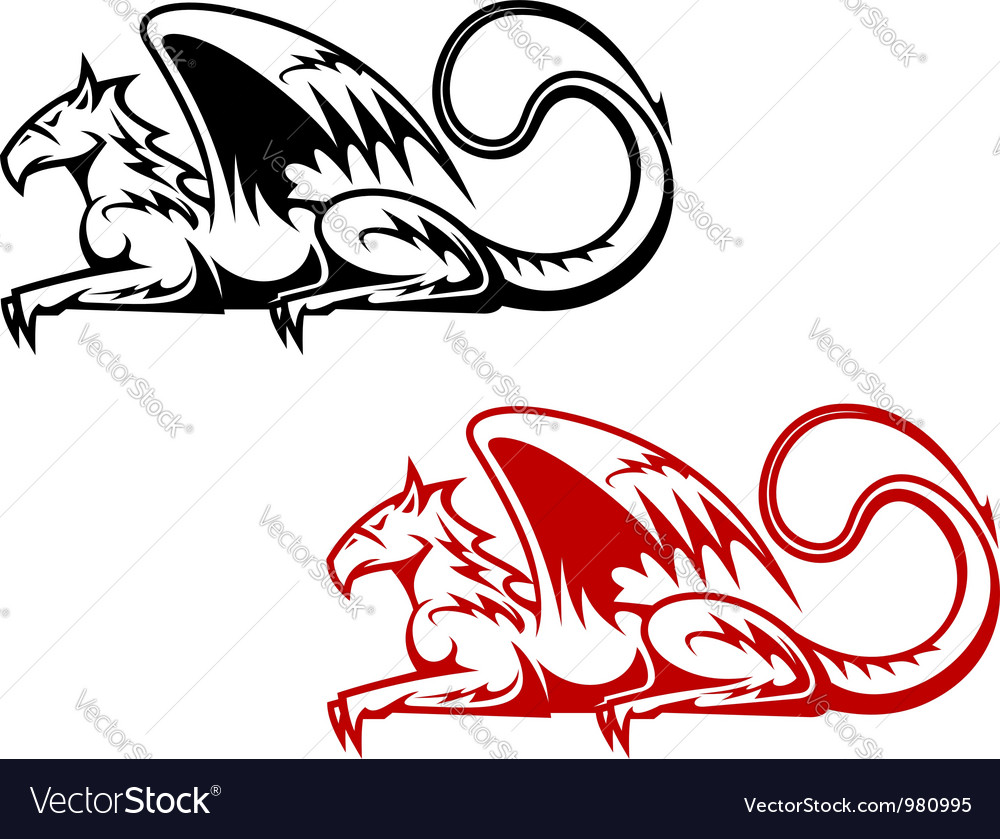Vintage heraldic griffin vector | Price: 1 Credit (USD $1)