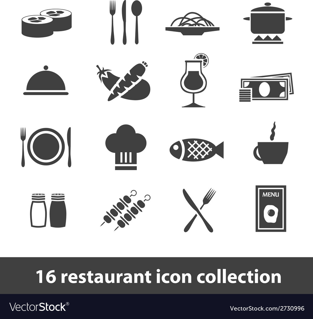 16 restaurant icon collection vector | Price: 1 Credit (USD $1)
