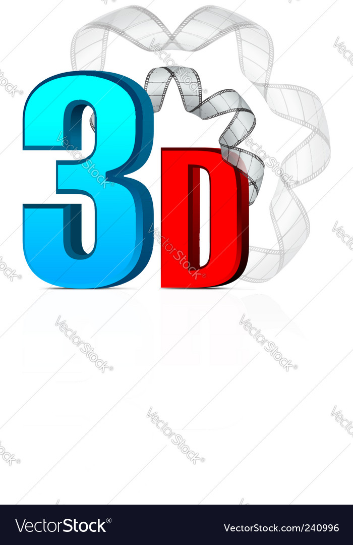 3d cinema with film strip vector | Price: 1 Credit (USD $1)