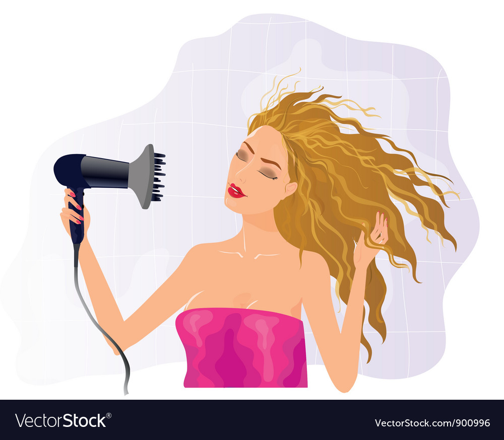 Blond girl with hairdryer vector | Price: 3 Credit (USD $3)