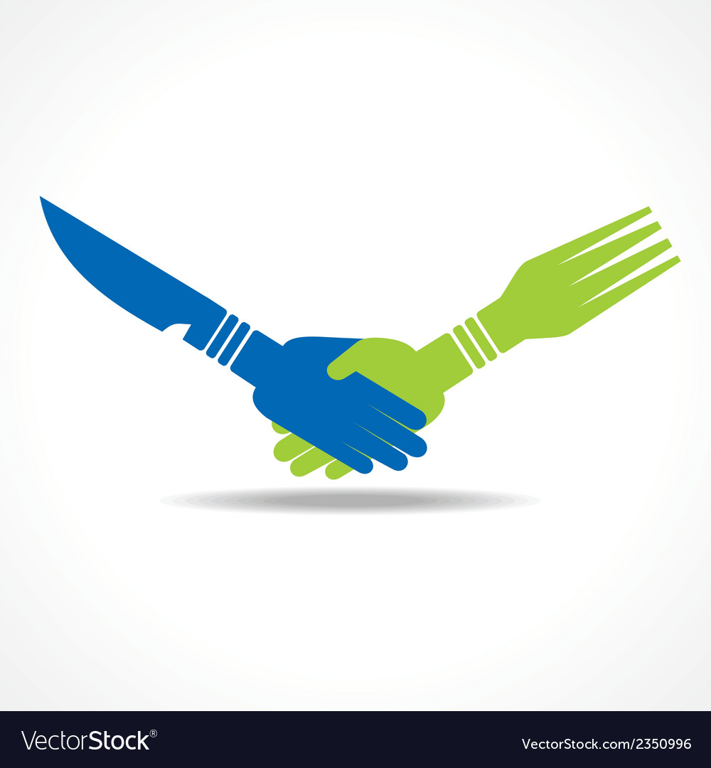 Businessman handshake through restaurant forks vector | Price: 1 Credit (USD $1)