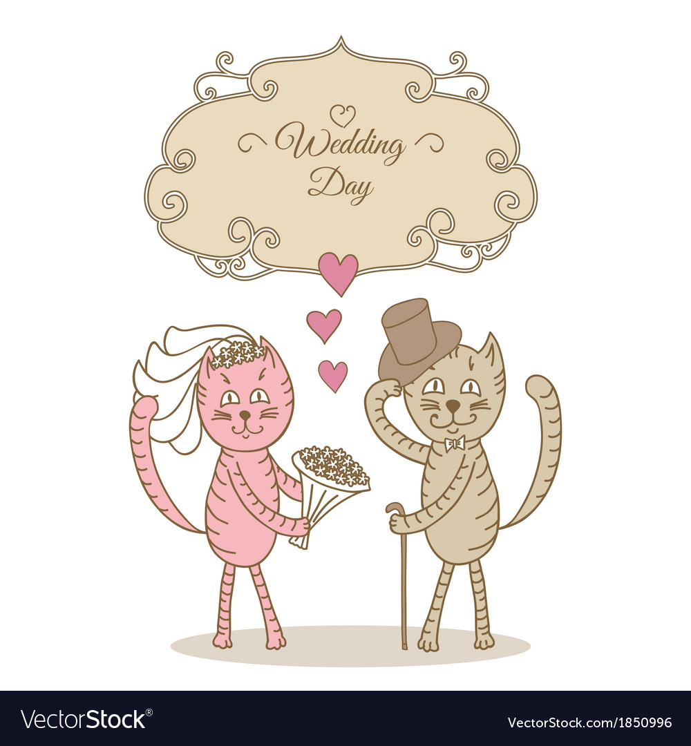 Card wedding day wedding cat vector | Price: 1 Credit (USD $1)