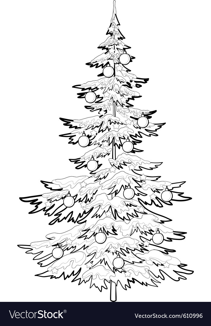 Christmas tree with ornaments contours vector | Price: 1 Credit (USD $1)