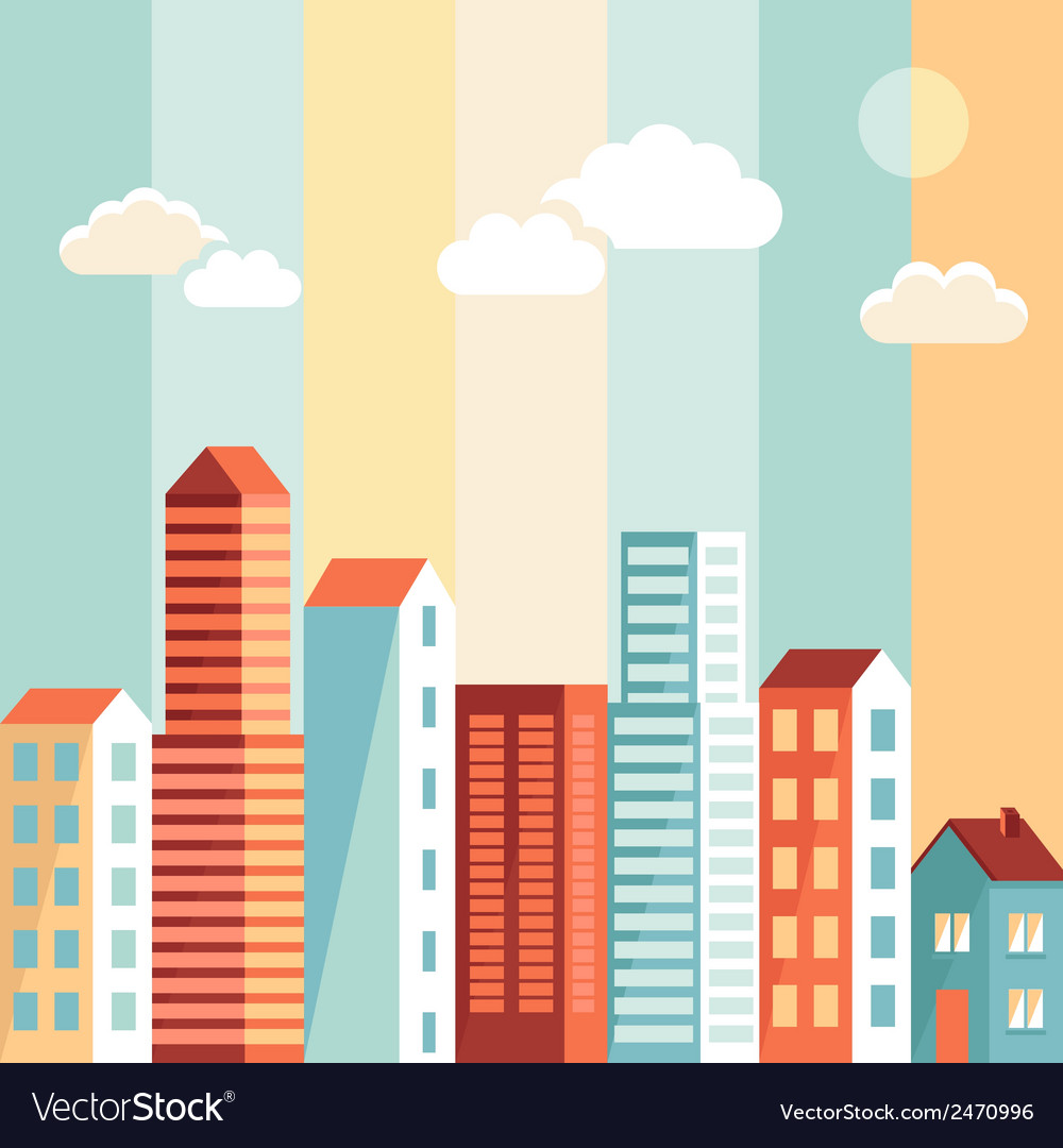 City in flat simple style vector | Price: 1 Credit (USD $1)