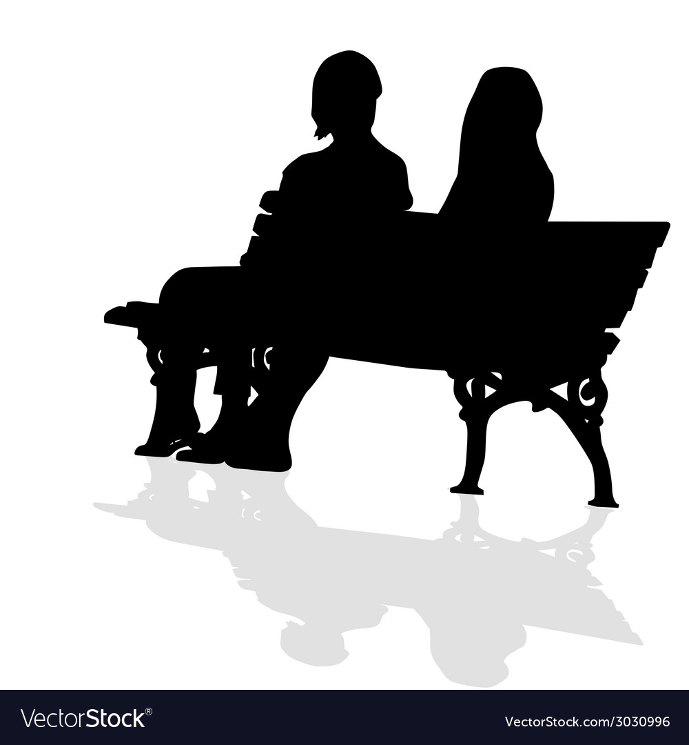 Couple sitting on a bench silhouette vector | Price: 1 Credit (USD $1)