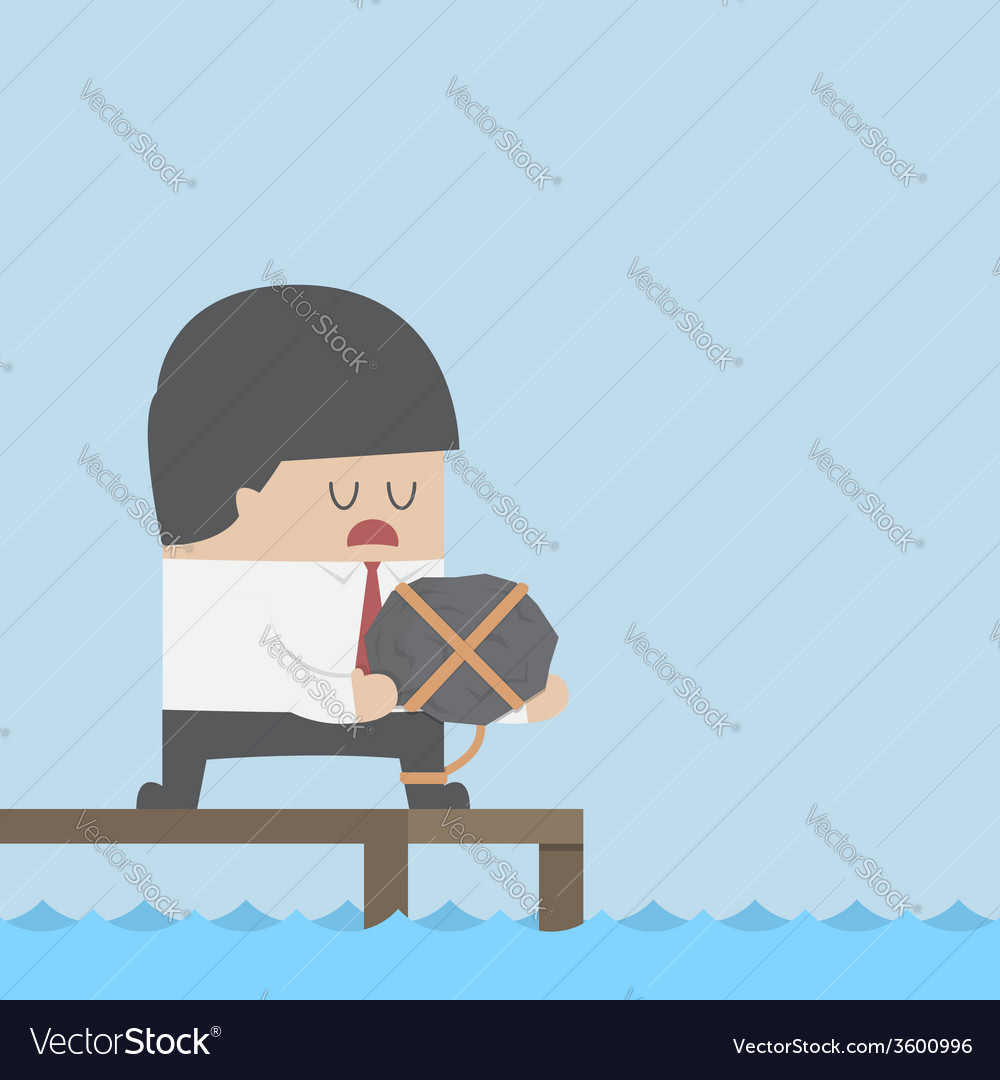 Desperate businessman holding the rock and dicide vector | Price: 1 Credit (USD $1)