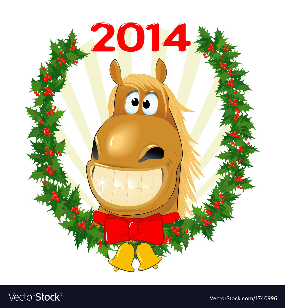 Funny horse symbol of the year vector   Price: 1 Credit (USD $1)
