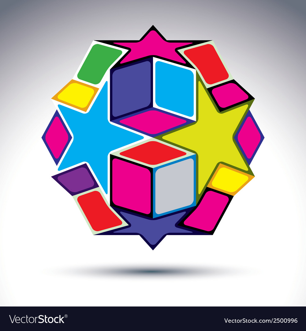 Rich 3d abstract figure constructed from geometric vector | Price: 1 Credit (USD $1)