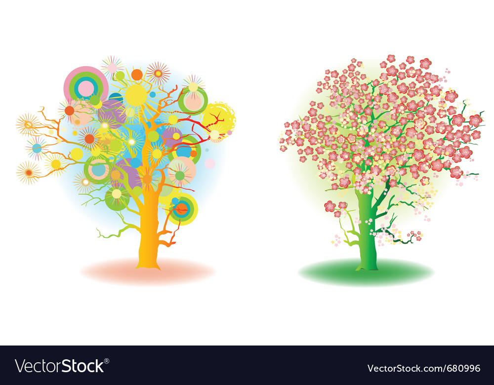 Two seasons trees vector | Price: 1 Credit (USD $1)