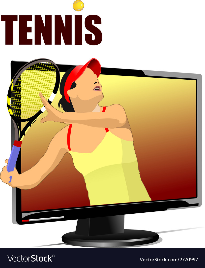 Al 0839 monitor and tennis 01 vector | Price: 1 Credit (USD $1)