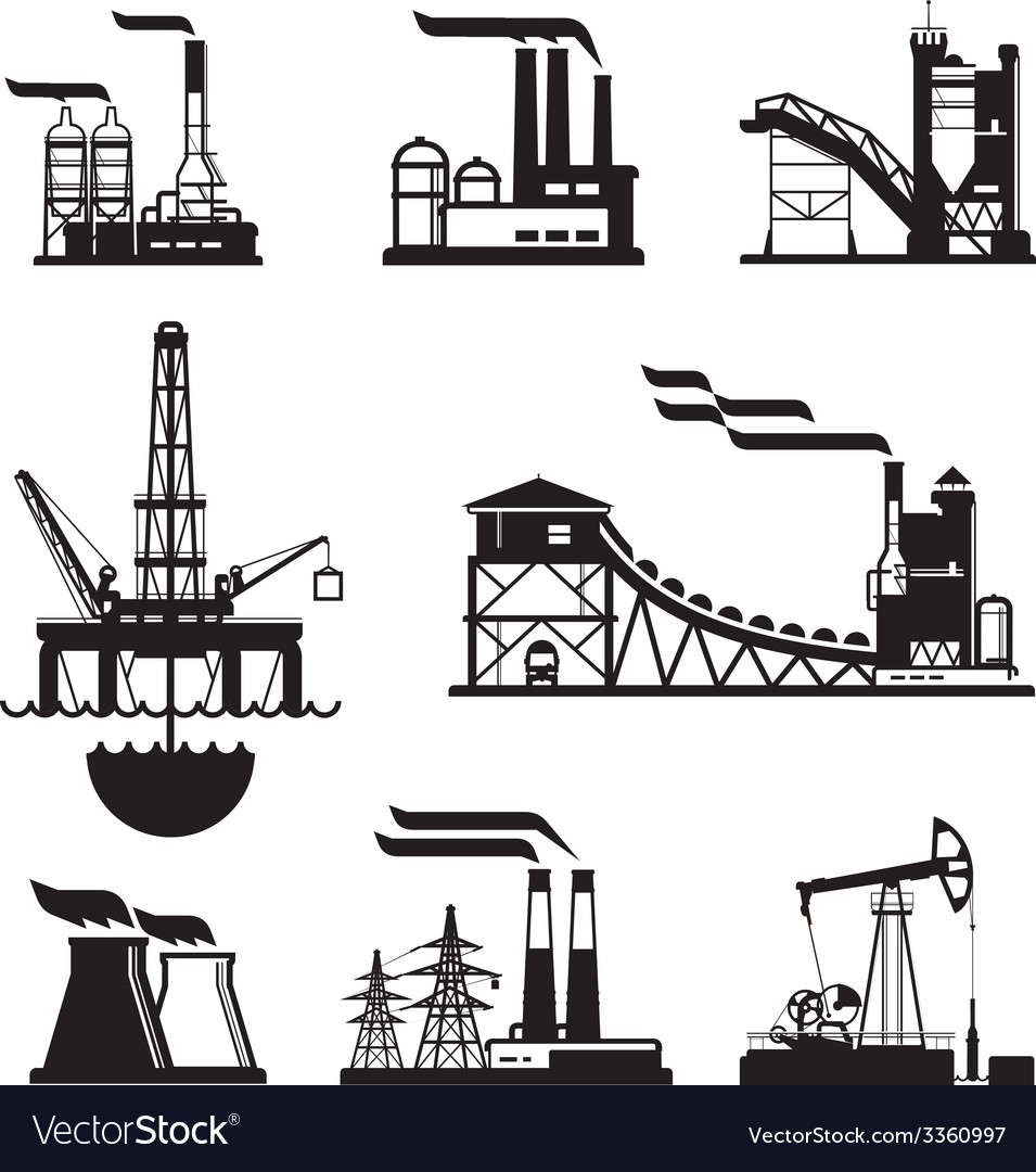 Black factory icons set on gray vector | Price: 1 Credit (USD $1)