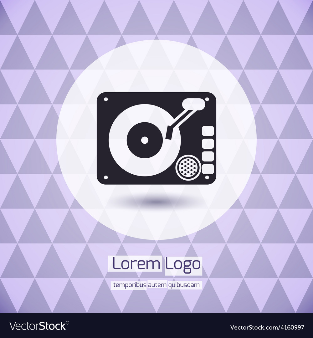Disk jockey vinyl turntable logo vector | Price: 1 Credit (USD $1)