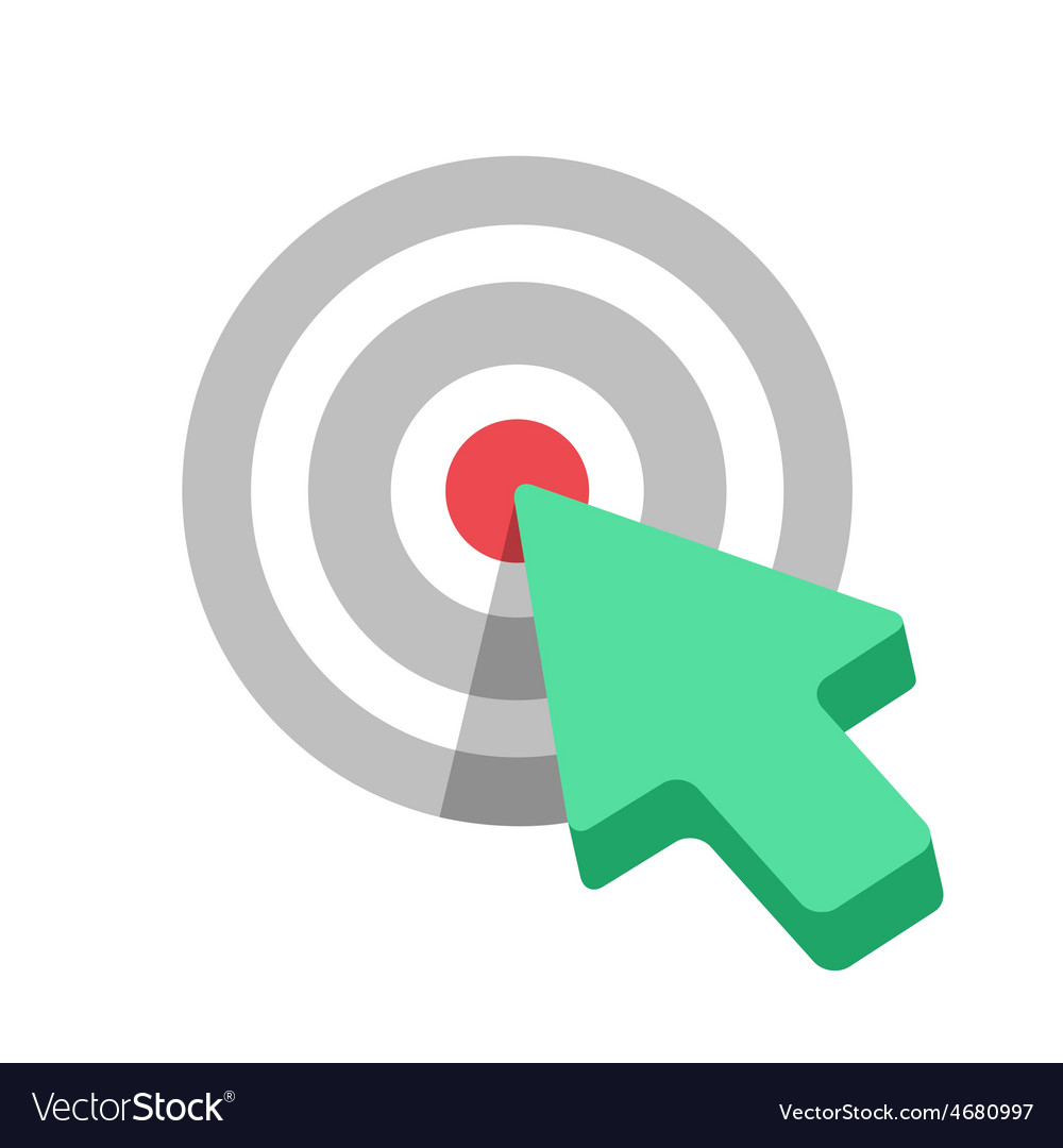 Flat target icon with green arrow cursor vector | Price: 1 Credit (USD $1)