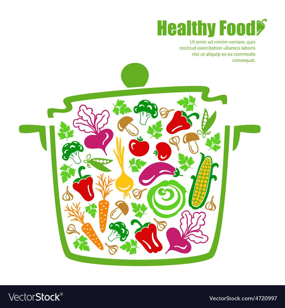 Healthy food vegetables in the pan vector | Price: 1 Credit (USD $1)