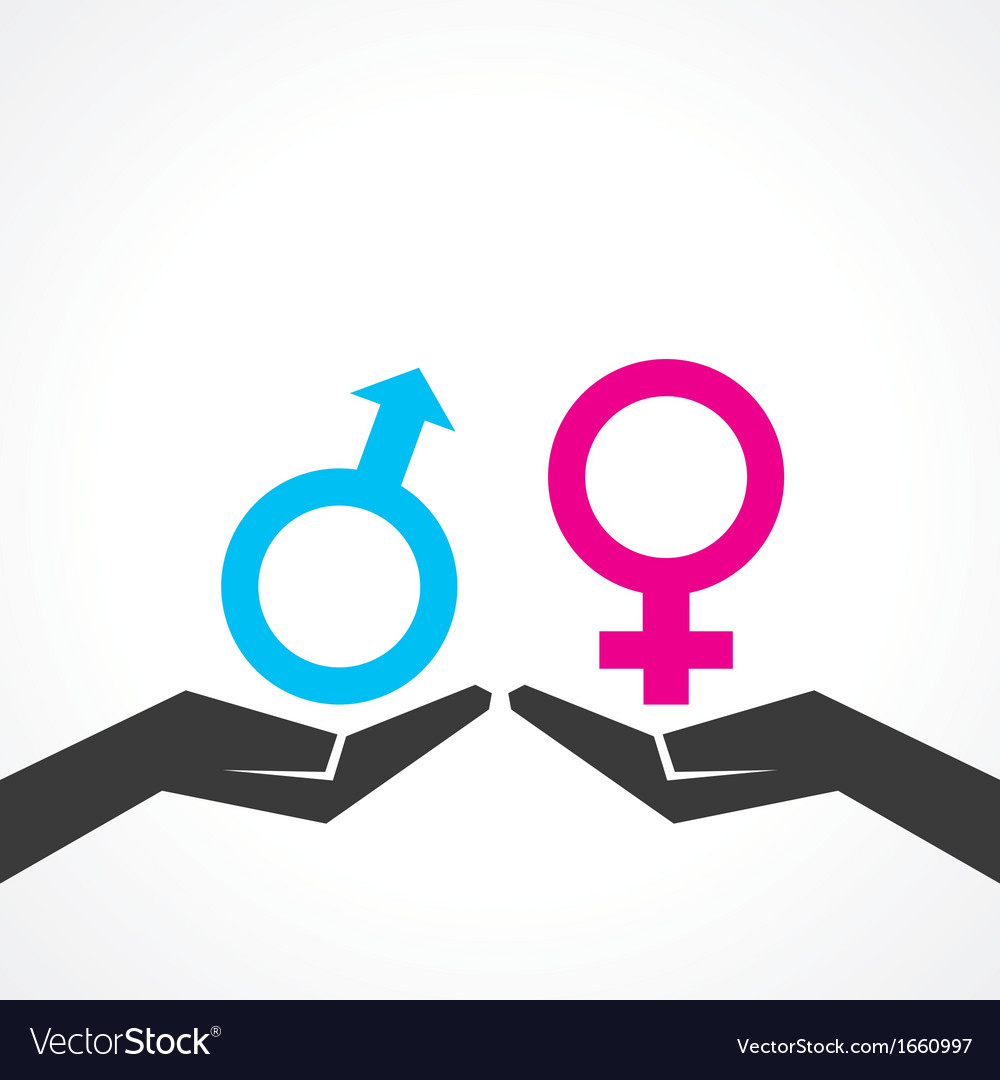 Male and female icon on hand vector | Price: 1 Credit (USD $1)