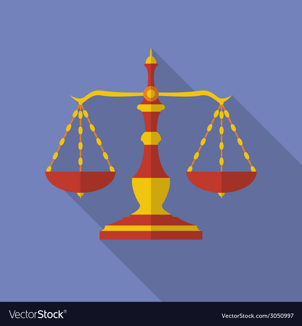Old scales icon scales of justice modern flat vector | Price: 1 Credit (USD $1)