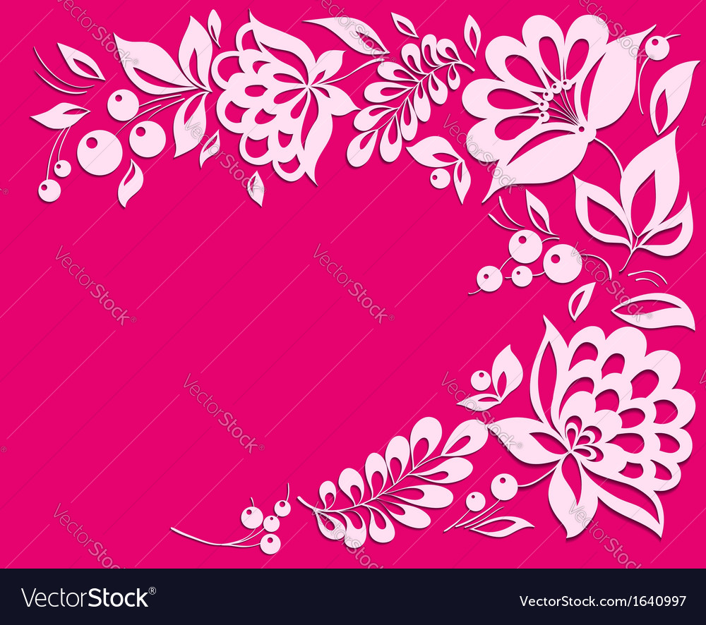 Pink background with a floral frame vector | Price: 1 Credit (USD $1)