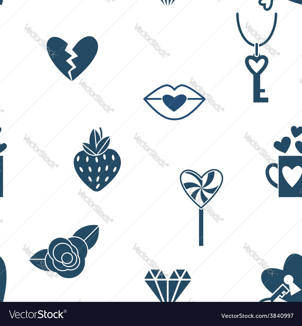 Romantic seamless with symbols of valentines day vector | Price: 1 Credit (USD $1)