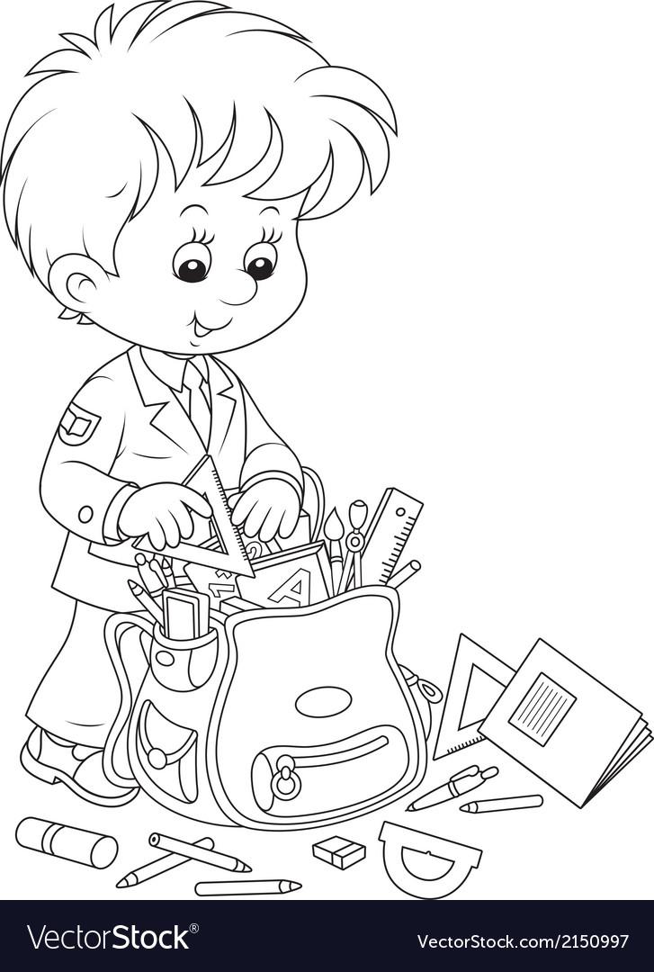 Schoolboy completing his schoolbag vector | Price: 1 Credit (USD $1)