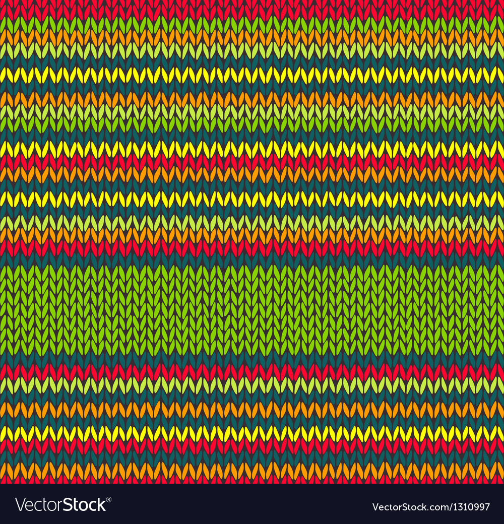 Seamless red green yellow color knitted pattern vector | Price: 1 Credit (USD $1)