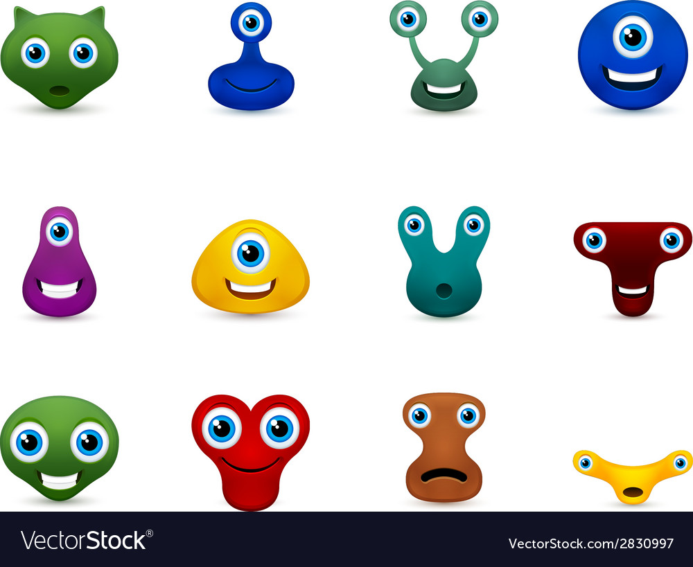 Set of funny monsters emoticon vector | Price: 1 Credit (USD $1)