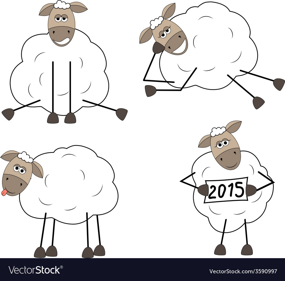 Set of funny sheep vector | Price: 1 Credit (USD $1)