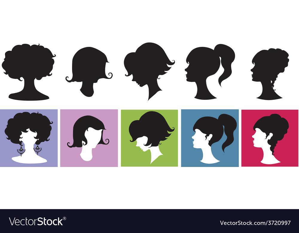 Silhouette girl with hairstyl vector | Price: 1 Credit (USD $1)