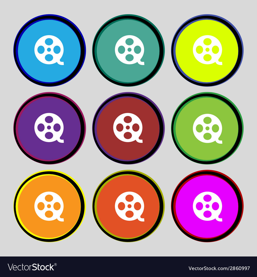 Video sign icon frame symbol set colourful buttons vector | Price: 1 Credit (USD $1)
