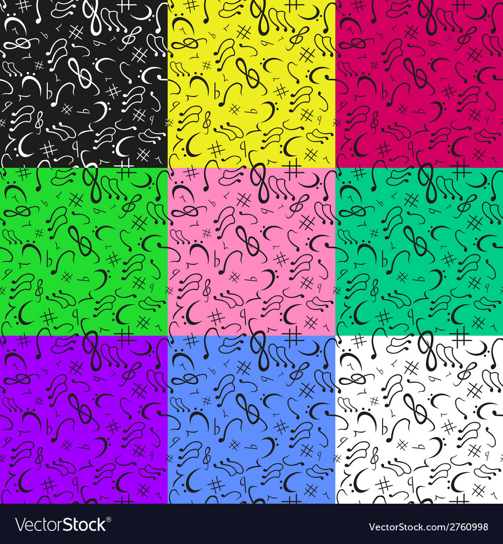 9 colors of musical notes seamless pattern vector