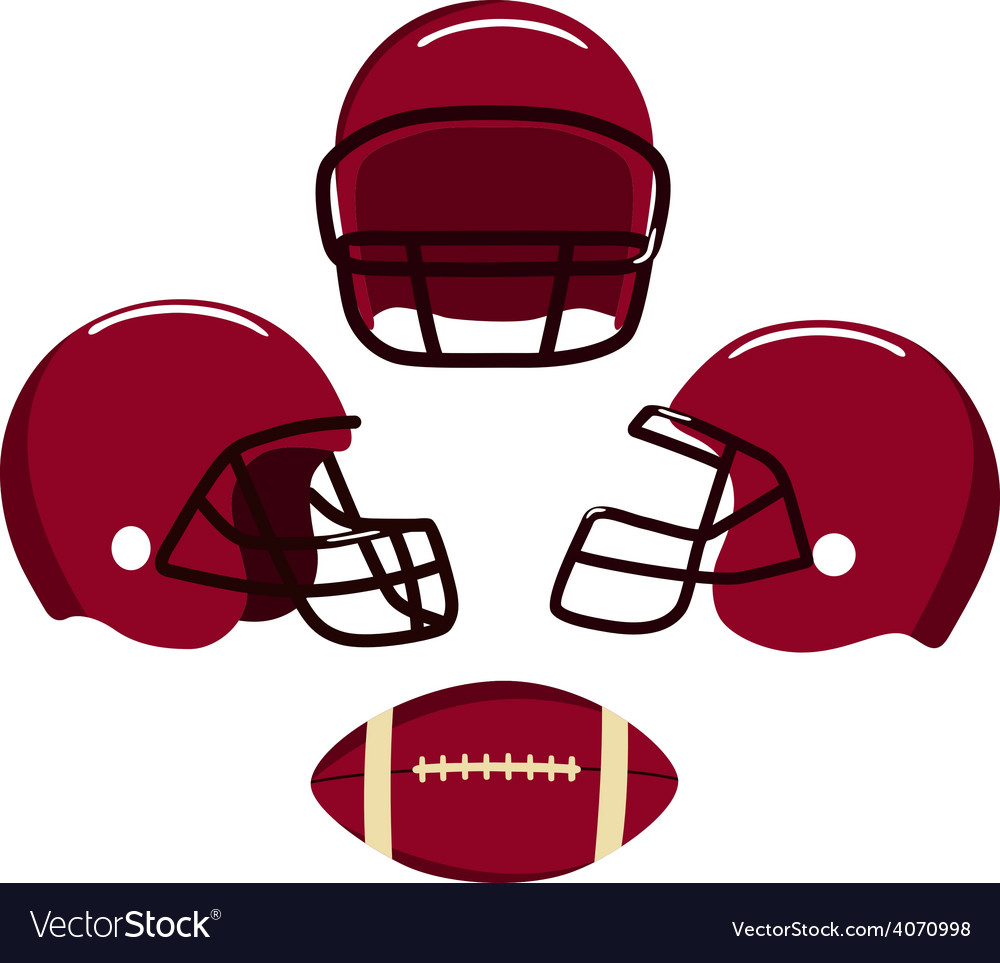 American football helmets and ball vector | Price: 1 Credit (USD $1)