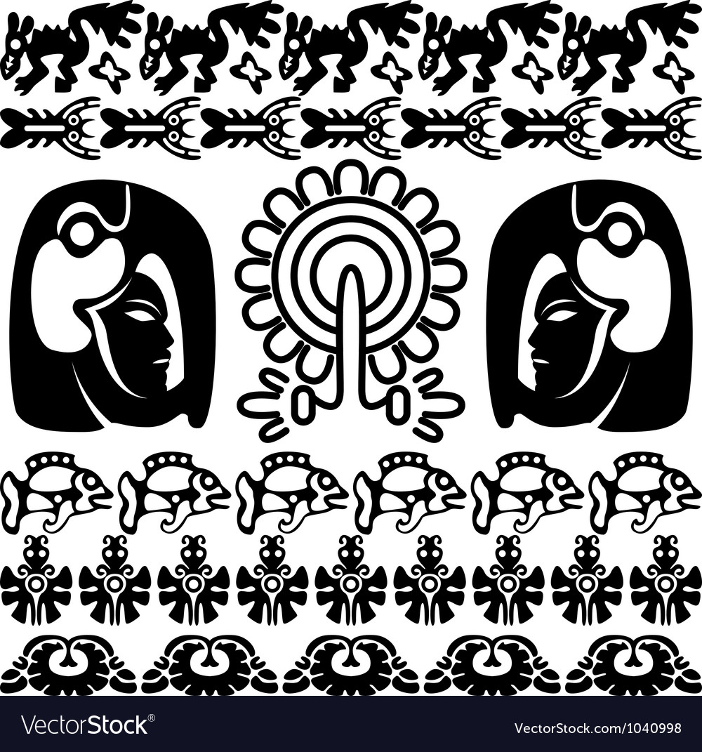 Ancient america set with patterns small vector | Price: 1 Credit (USD $1)