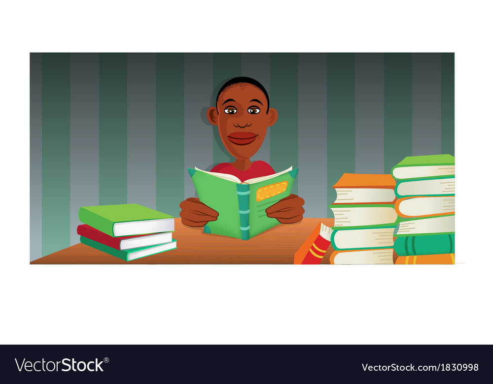 Boy reading books vector | Price: 1 Credit (USD $1)