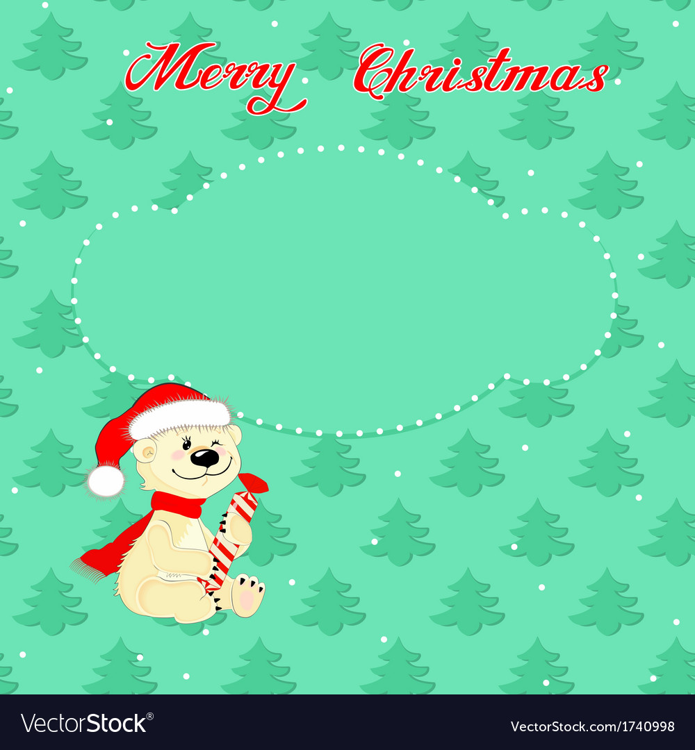 Christmas card with little polar bear vector | Price: 1 Credit (USD $1)
