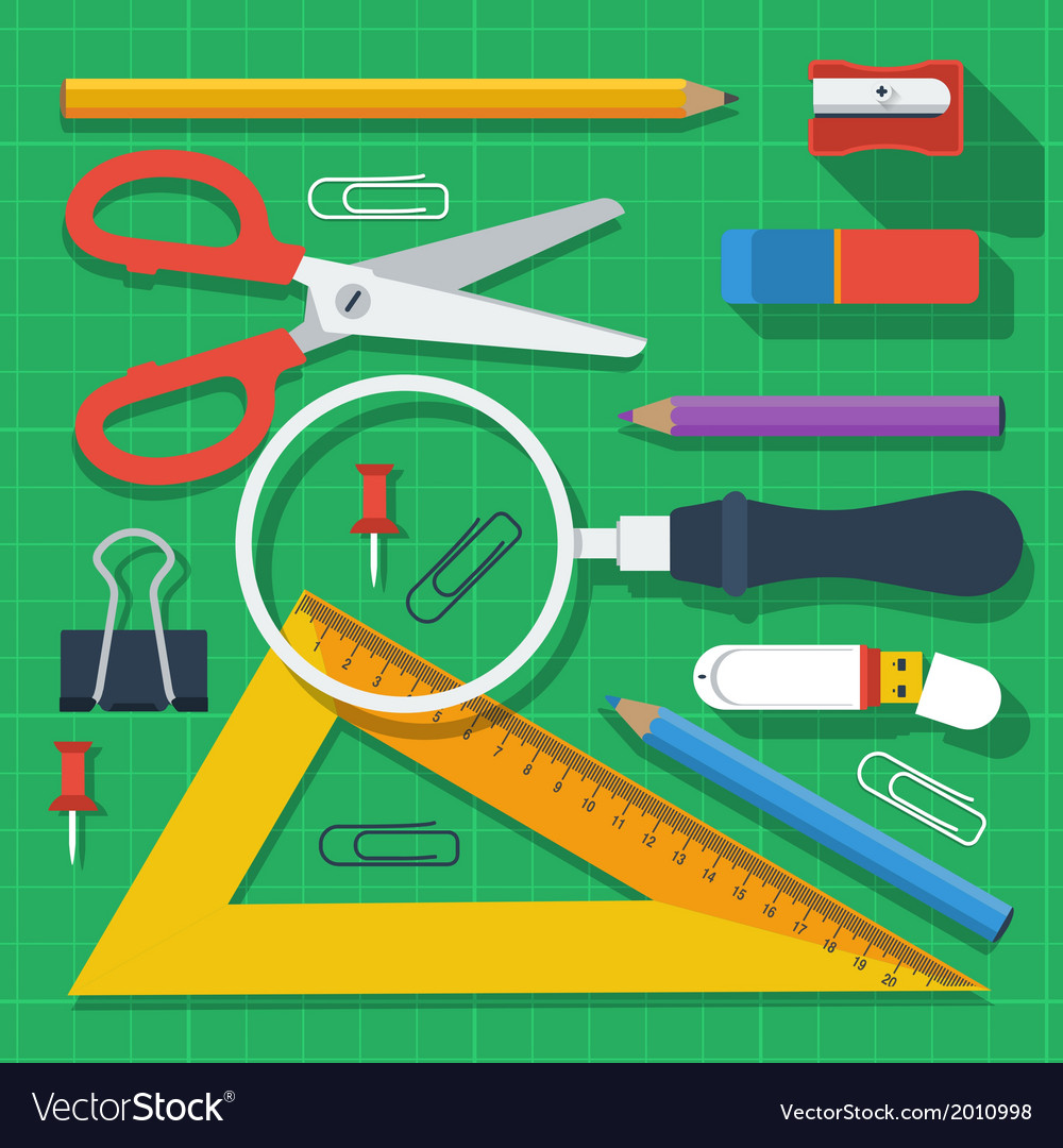 Colorful school supplies flat design vector | Price: 1 Credit (USD $1)