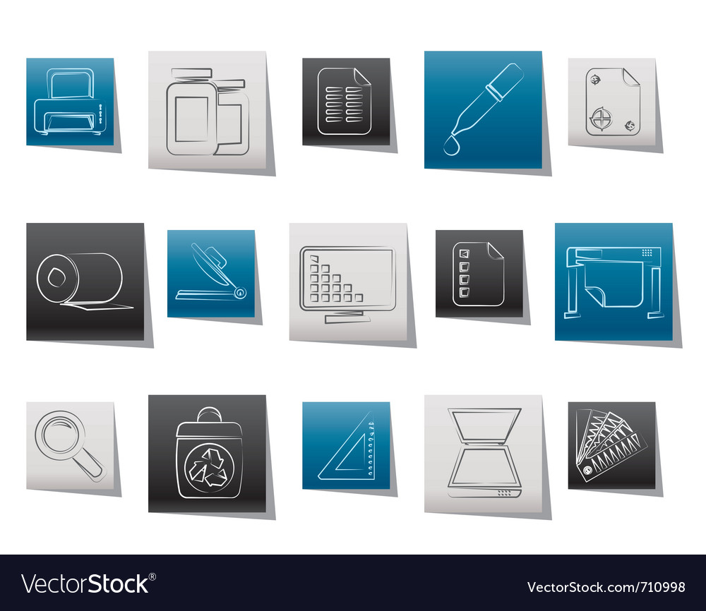 Commercial print icons vector | Price: 1 Credit (USD $1)
