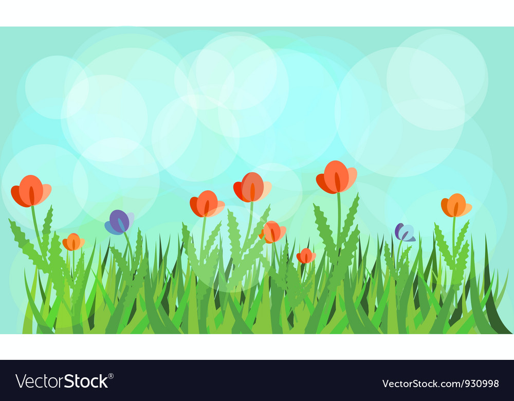 Flowering meadow vector | Price: 1 Credit (USD $1)