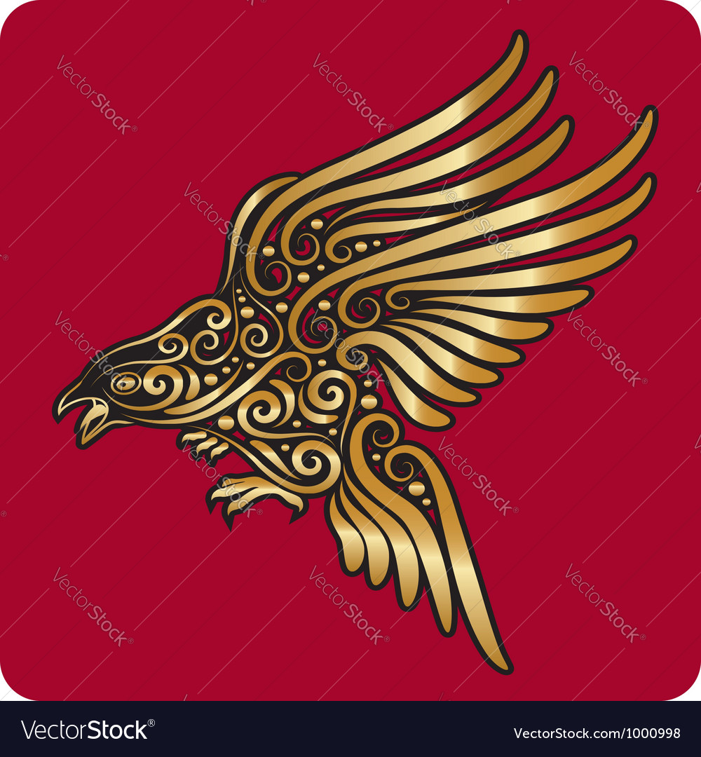 Golden bird ornament vector | Price: 1 Credit (USD $1)