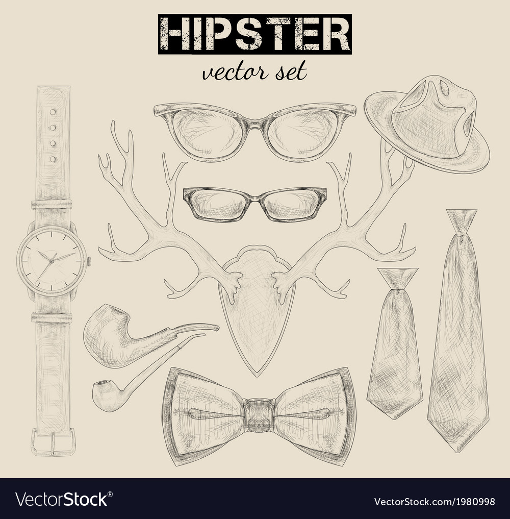 Hand drawn hipster style accessory set vector | Price: 1 Credit (USD $1)