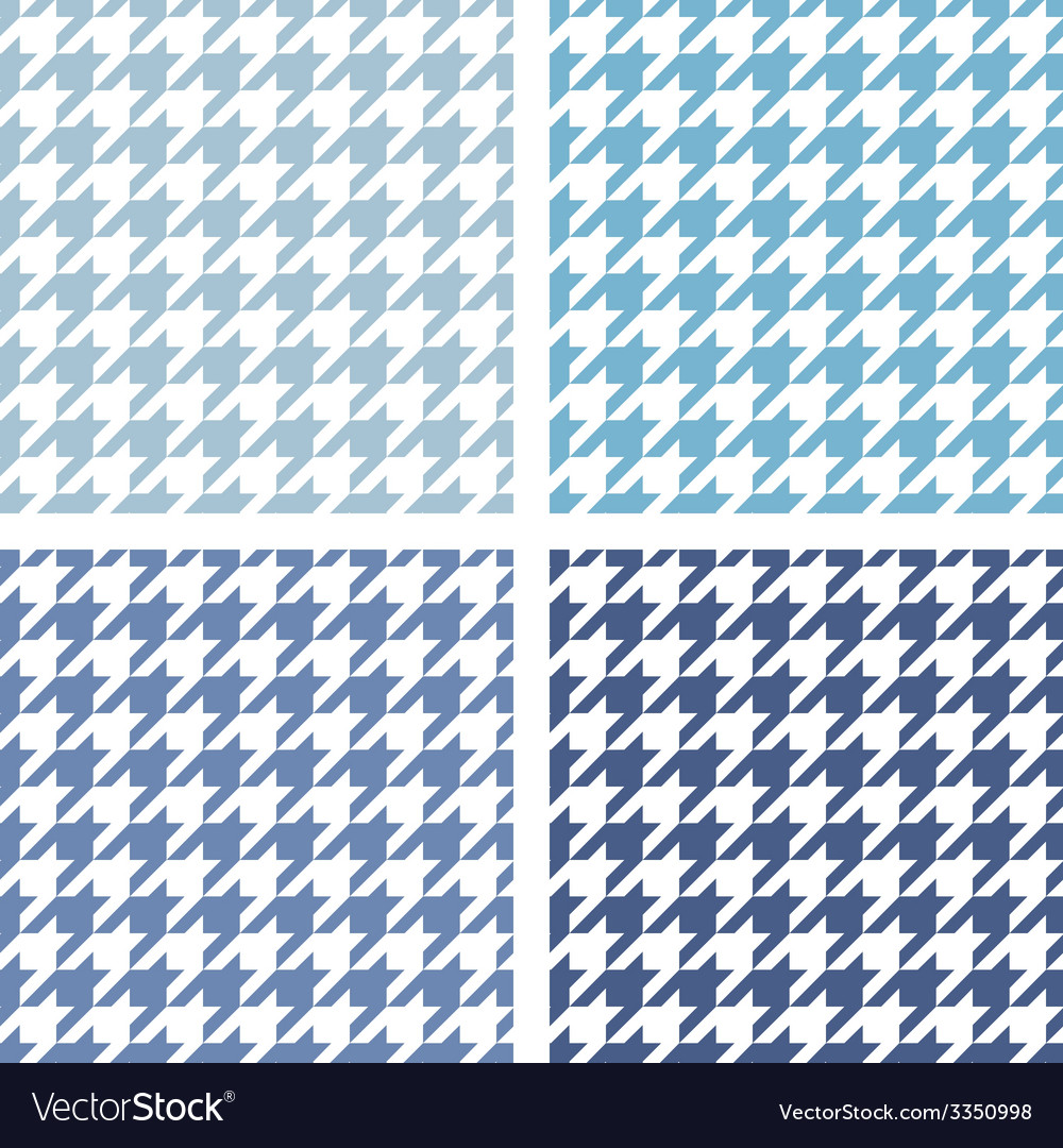 Houndstooth tile blue and white pattern set vector | Price: 1 Credit (USD $1)