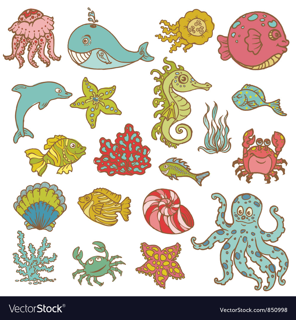Marine life doodles vector | Price: 1 Credit (USD $1)