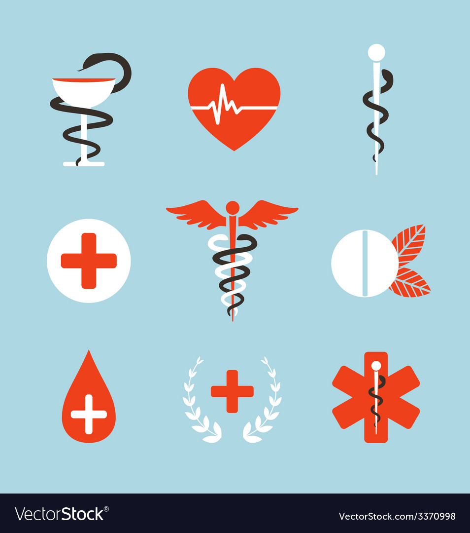 Medical symbols emblems and signs collection vector | Price: 1 Credit (USD $1)