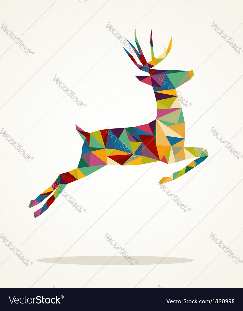 Merry christmas contemporary triangle reindeer vector | Price: 1 Credit (USD $1)