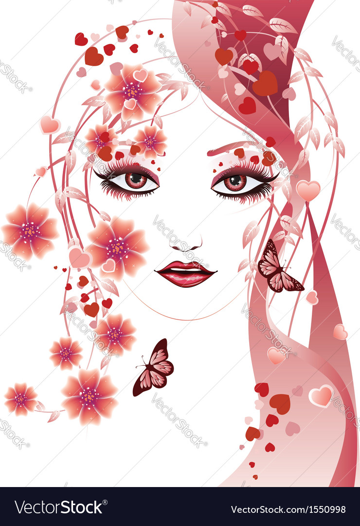 Red floral girl vector | Price: 1 Credit (USD $1)