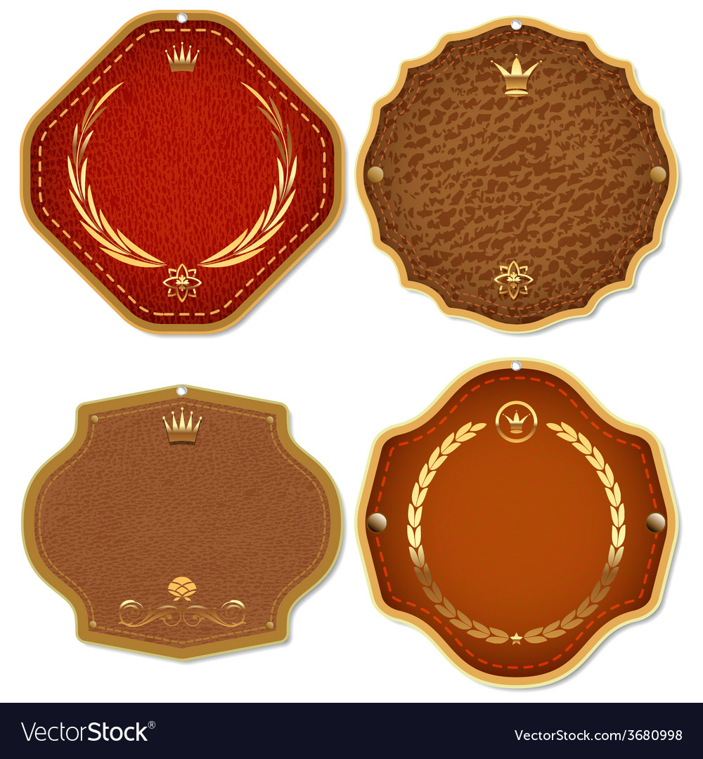 Set of leather gold premium quality labels and vector | Price: 1 Credit (USD $1)