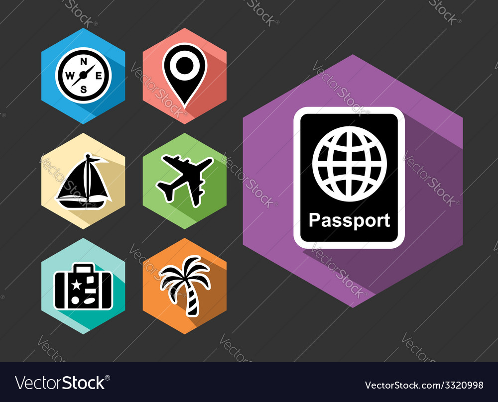 Travel and tourism flat icons set vector | Price: 1 Credit (USD $1)