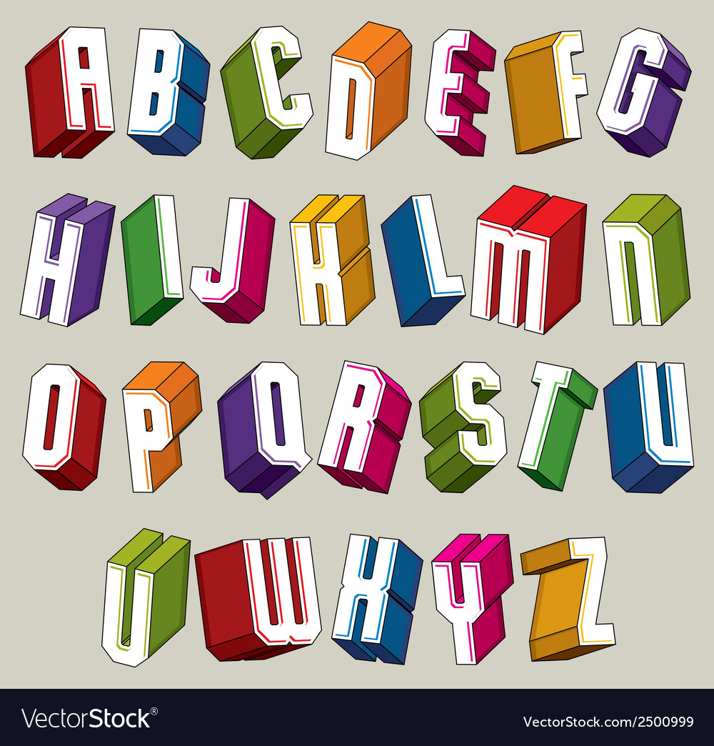 3d font bold and heavy letters geometric vector | Price: 1 Credit (USD $1)
