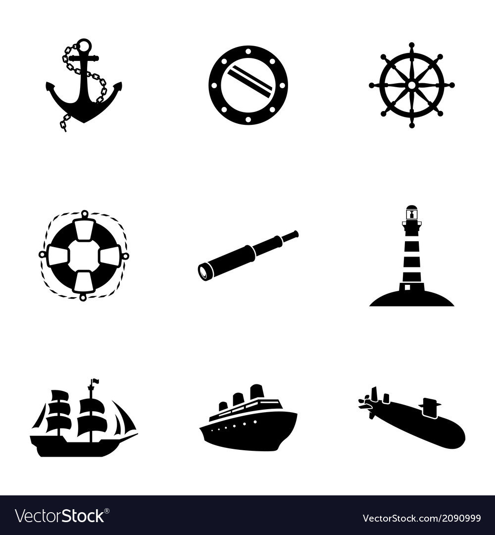 Black nautical icons set vector | Price: 1 Credit (USD $1)
