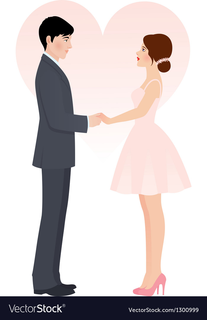 Bride and groom holding hands vector | Price: 1 Credit (USD $1)