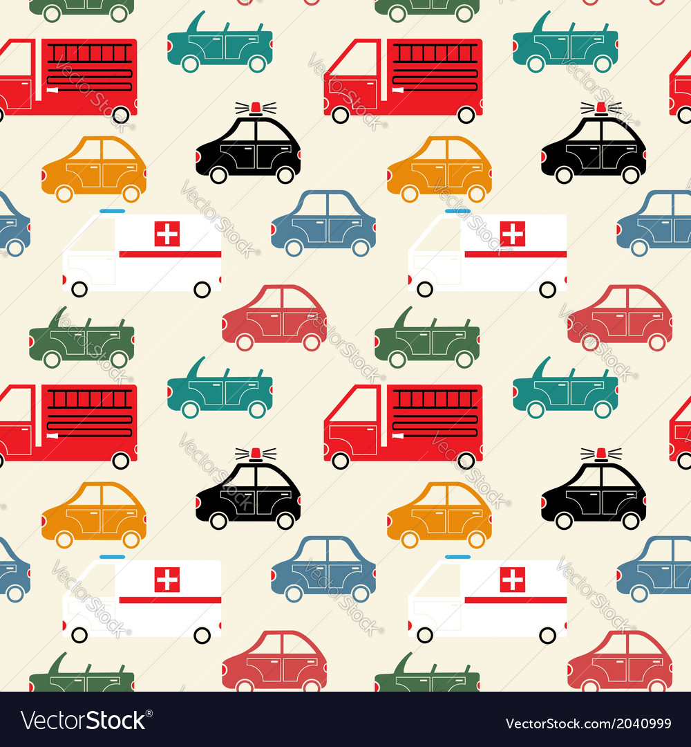 City car seamless pattern color vector | Price: 1 Credit (USD $1)