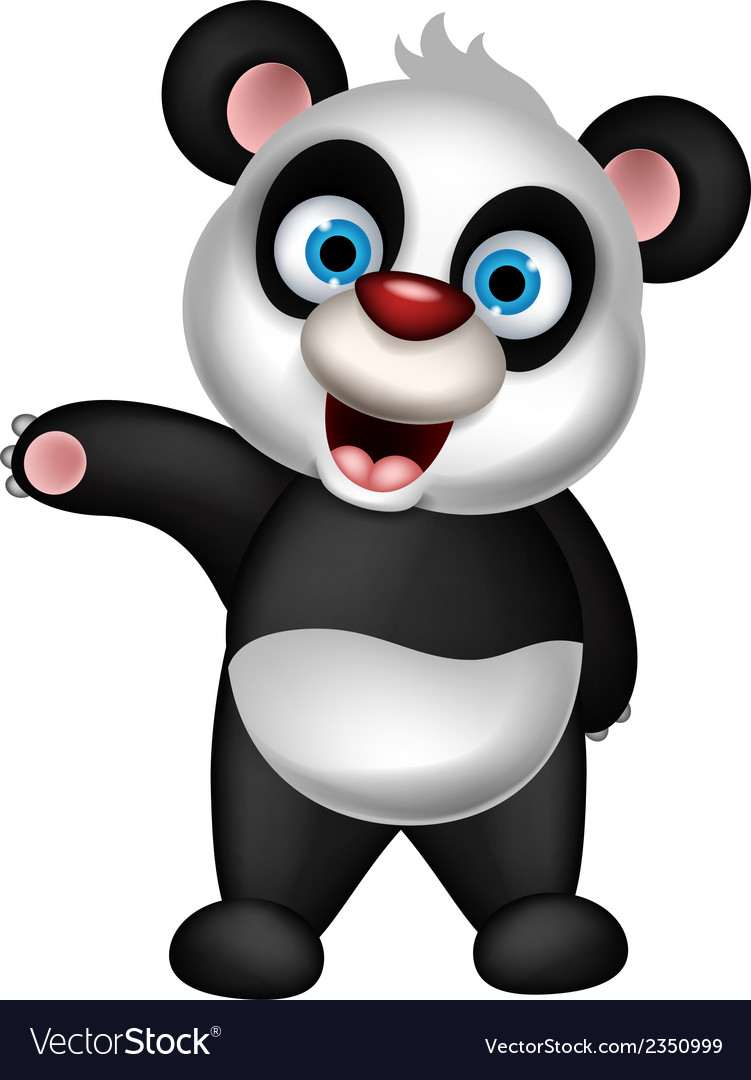 Cute panda cartoon presenting vector | Price: 1 Credit (USD $1)